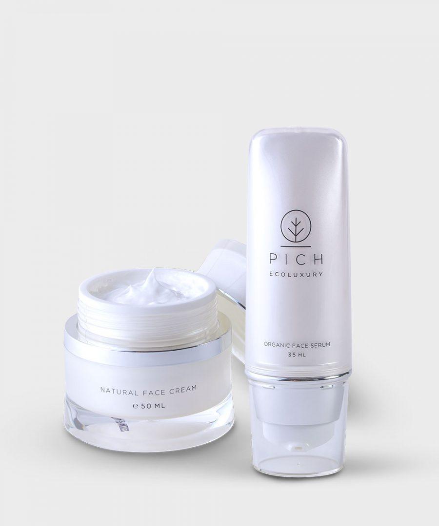 Natural Face Cream + Organic Face Serum (Set)